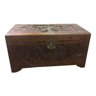 Asian Style Carved Wooden Trunk For Sale