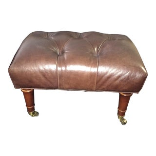 Traditional Baker Furniture Leather Foot Stool For Sale