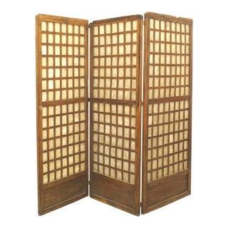 Italian Mid-Century Rustic Three-Panel Screen For Sale