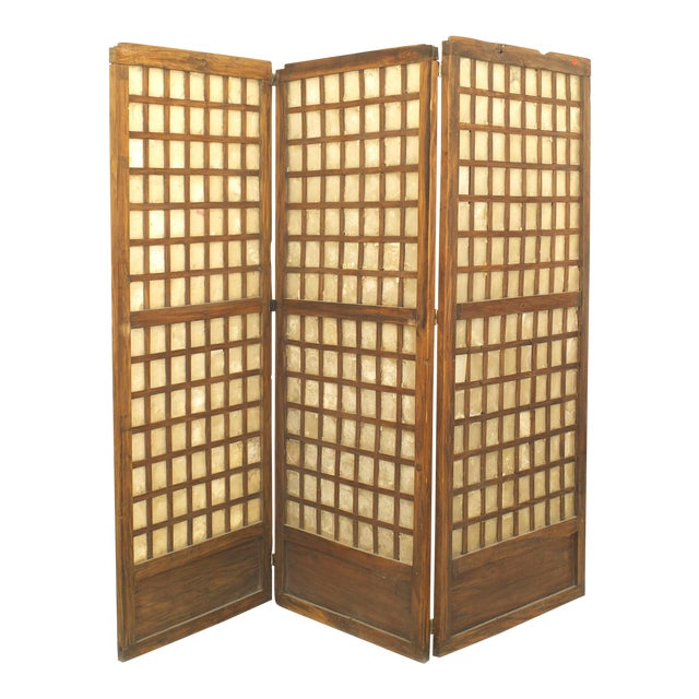 Italian Mid-Century Rustic Three-Panel Screen For Sale
