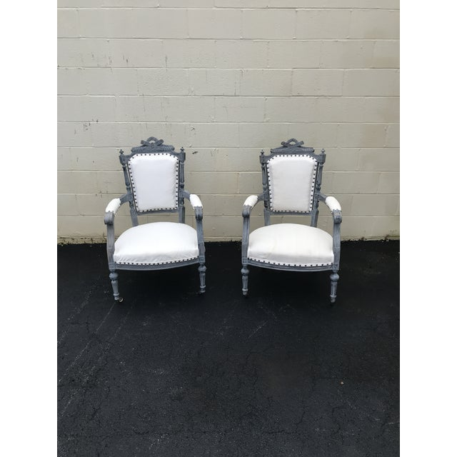 Blue Gray & White Dining Chairs - a Pair For Sale - Image 8 of 8