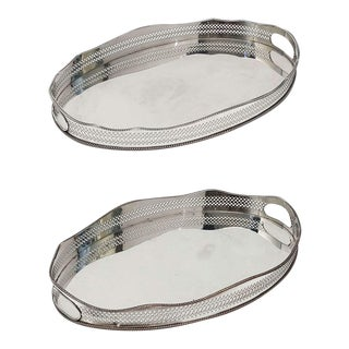 Pair of English Silver Oval Gallery Serving or Drinks Trays (Priced as a Pair) For Sale