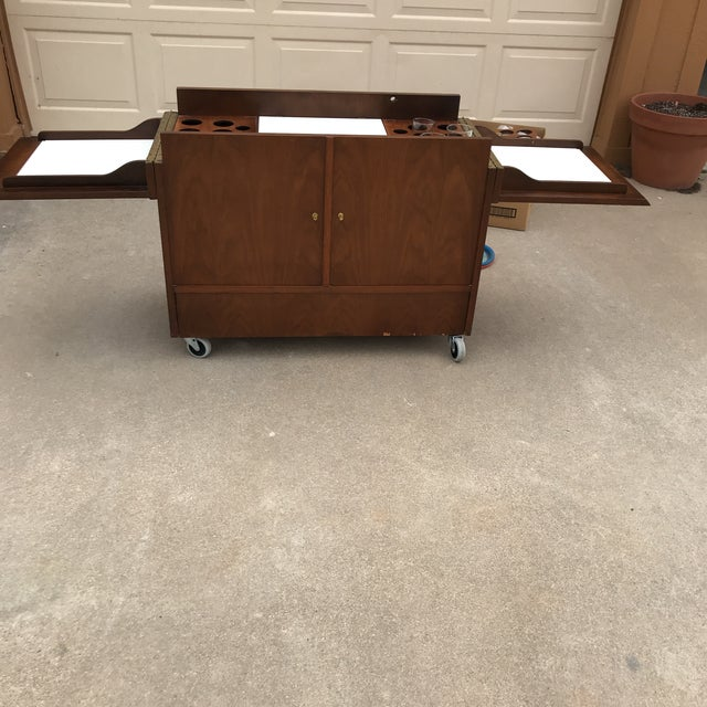 Mid-Century Dry Bar With Fold Open Top + Glasses For Sale - Image 9 of 10