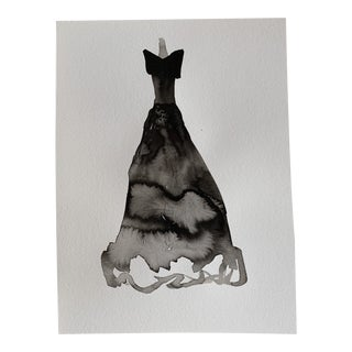 Original Ink Wash Fashion Gown For Sale