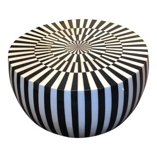 Boho Chic Made Goods Janson Black and White Resin Coffee Table For Sale