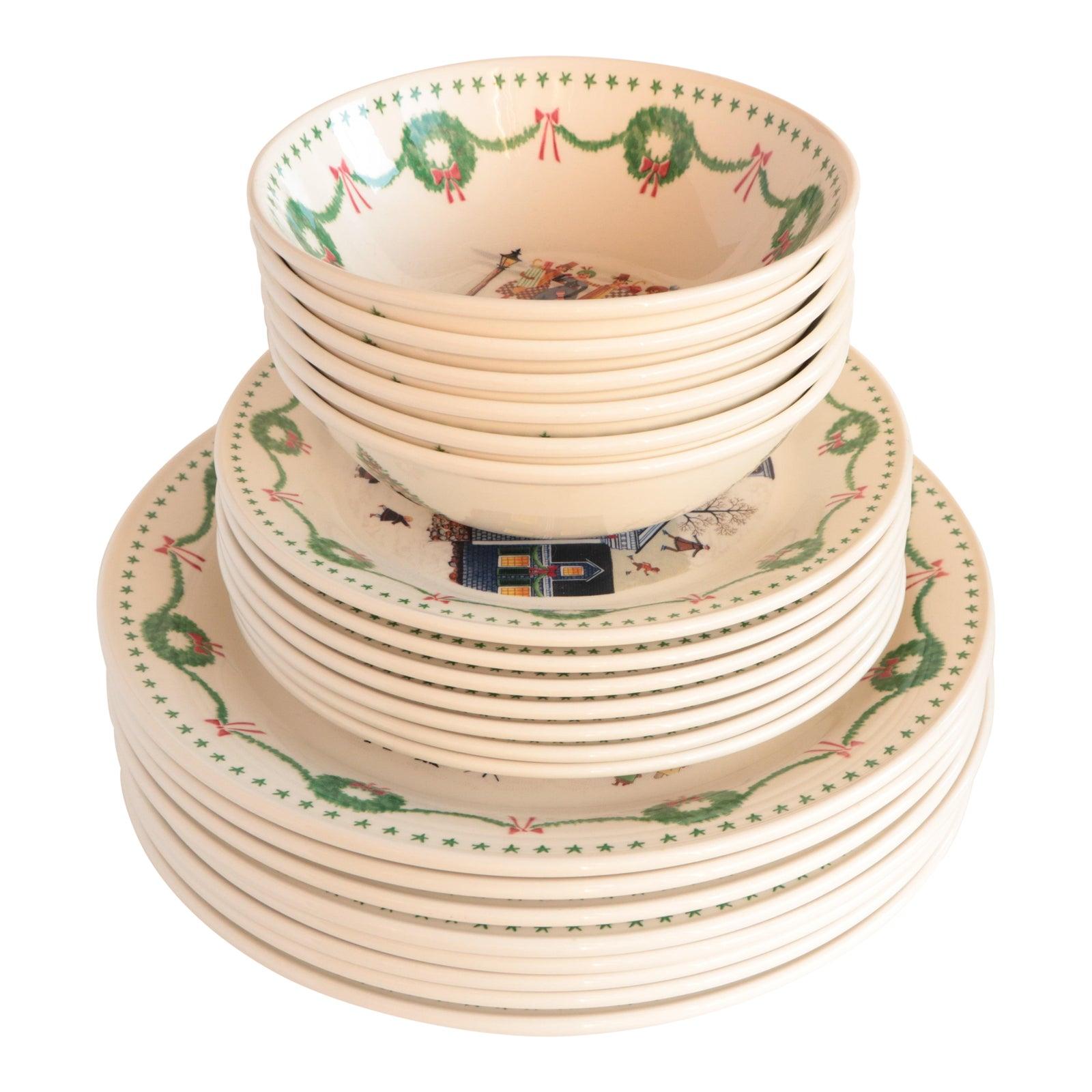 Charles Wysocki Americana Christmas Dinnerware - 21 Pieces | Chairish