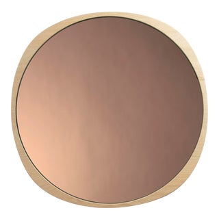 Contemporary Natural Ash Frame Peach Fade Mirror For Sale