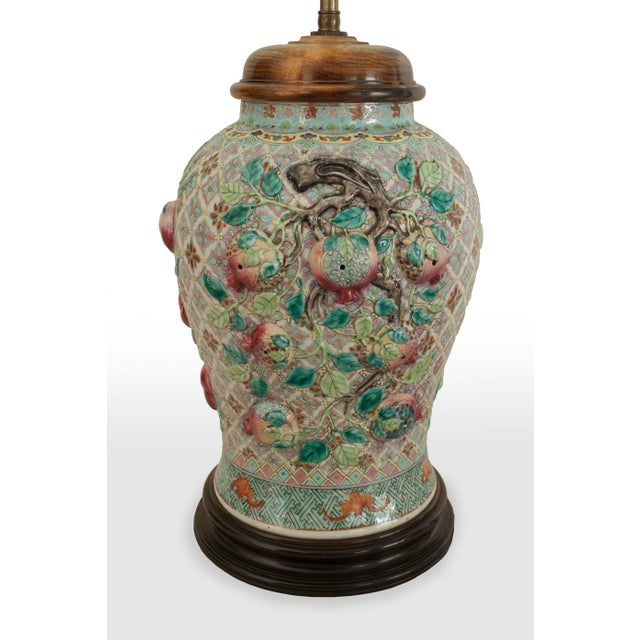 Asian Pair of Asian Chinese Style Large Ginger Jar Shaped Porcelain Lamps For Sale - Image 3 of 5