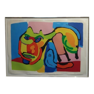1969 Vintage Karel Appel Abstract Cat Original Signed Lithograph Print For Sale