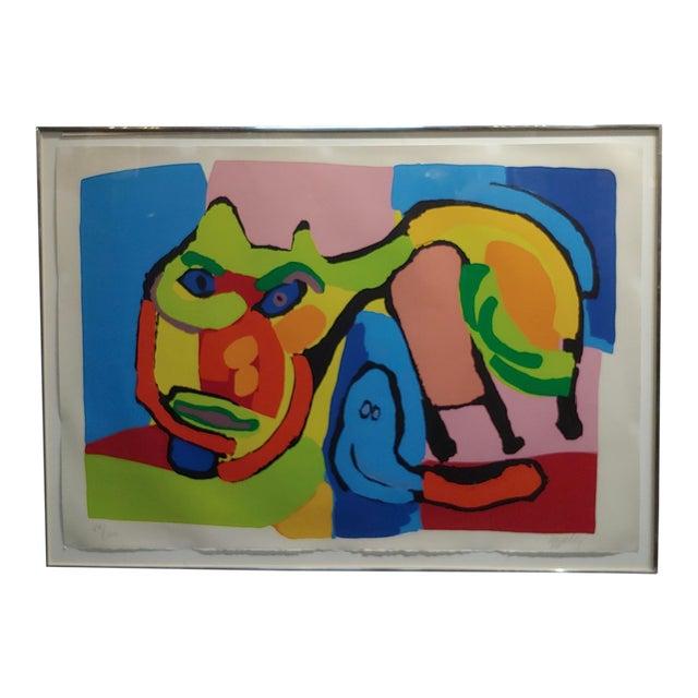 1969 Vintage Karel Appel Abstract Cat Original Signed Lithograph Print For Sale