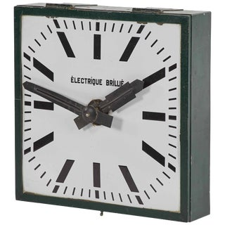 1900s Industrial Green Clock For Sale