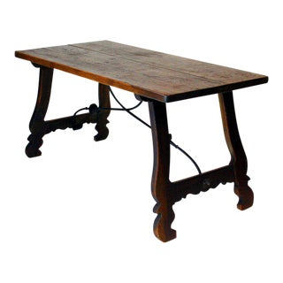 Spanish Walnut and Iron Trestle Table For Sale