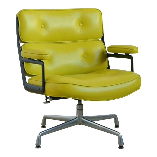 Eames Time-Life Chair with Green Leather by Herman Miller For Sale