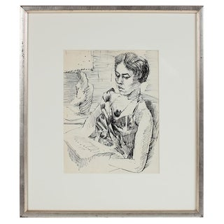 Saul Lishinsky Modernist Portrait of a Woman on a Train in Ink Circa 1940s-1960 For Sale