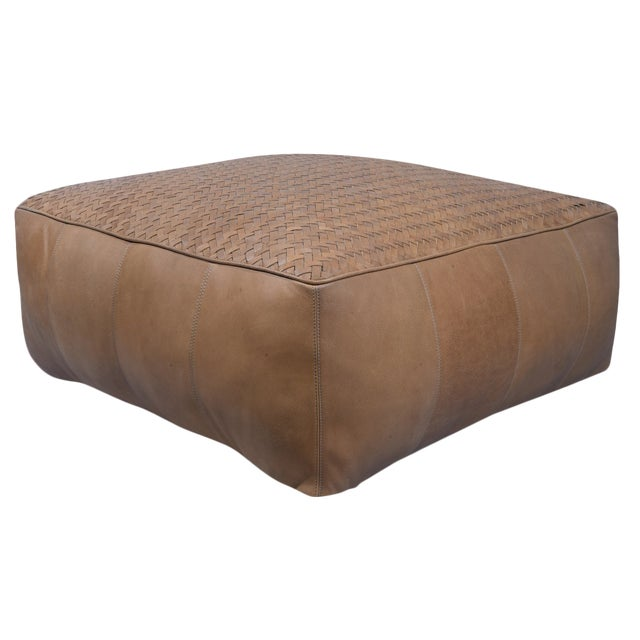 Light Brown Square Leather Upholstered Pouf For Sale