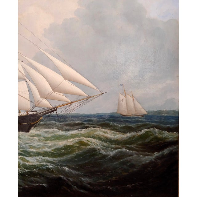 Canvas 19th Century Portrait of an American Sailing Ship- Oil Painting -C1860s For Sale - Image 7 of 12