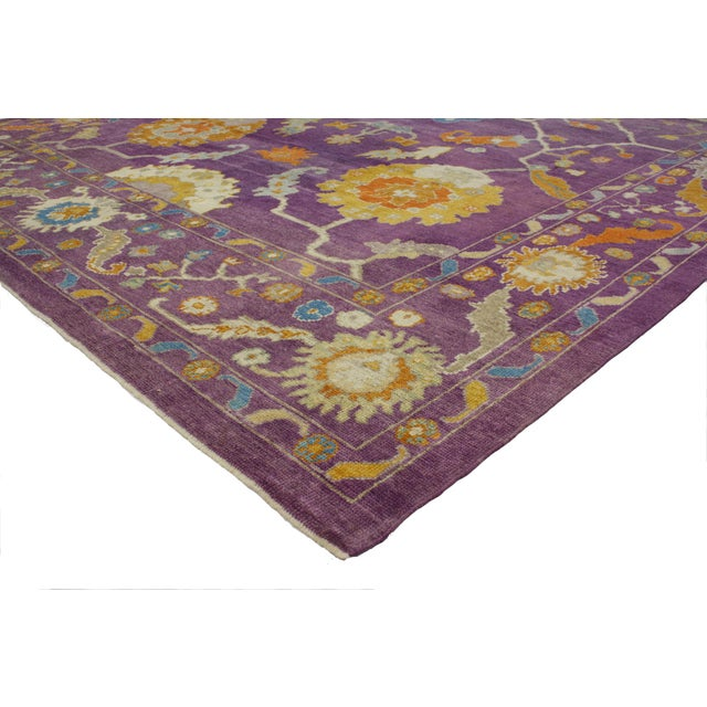51889 New Contemporary Purple Oushak Rug with Hollywood Regency and Post-Modern Style. This hand knotted wool contemporary...