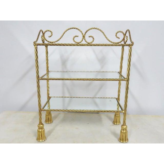 Hollywood Regency Gold Gilt Tassel Shelf For Sale - Image 4 of 4