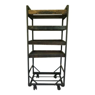 Vintage Compact Wooden Bakers Rack For Sale