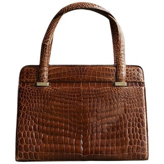 Gucci Cognac Alligator Bag and Matching Purse From the Collection of Ann Turkel For Sale