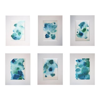 """Chelsea Fly """"Abstracts in Blue"""" Artwork Collection - Set of 6"""