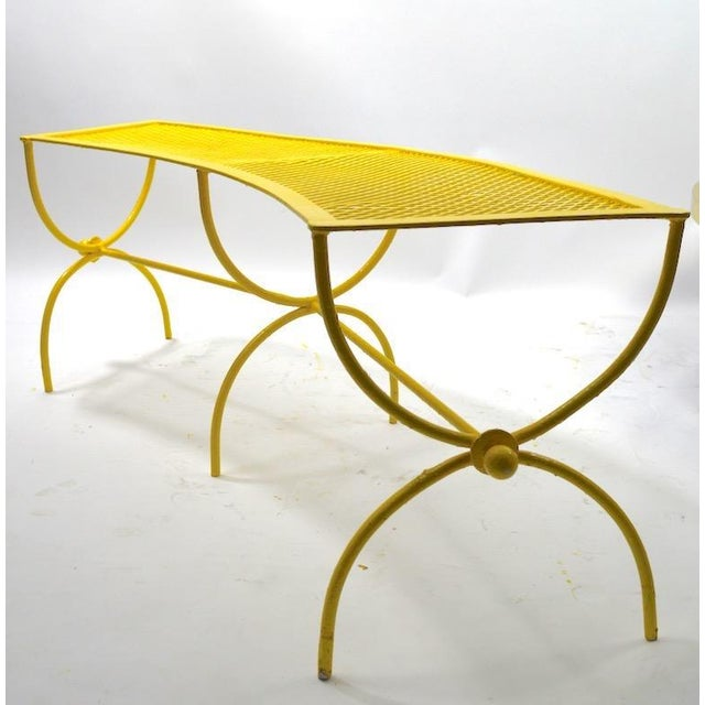 Pair of curved form patio, poolside or garden benches attributed to Salterini. Currently in later sunshine yellow paint...