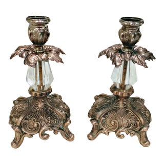 Vintage Baroque Gilt Bronze & Crystal Candlestick Holders - a Pair For Sale