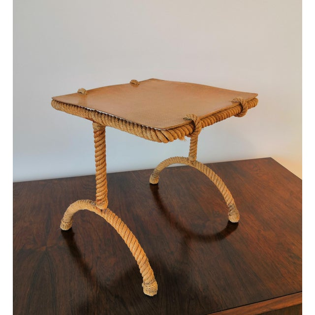 1960s French Rope Square Side Table by Audoux & Minnet For Sale - Image 5 of 11