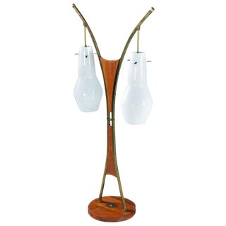 Modeline Style Mid-Century Modern Walnut and White Glass Table Lamp