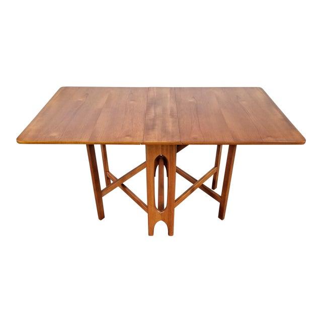 "Vintage 1960s Mid-Century Norwegian Modern Bendt Winge ""Ellipse"" Style Gate-Leg Drop-Leaf Table For Sale"