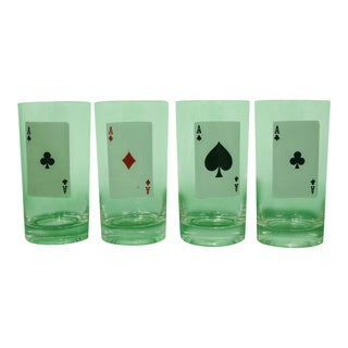 1950s Vintage 'Aces' Playing Card Glasses - Set of 4 For Sale