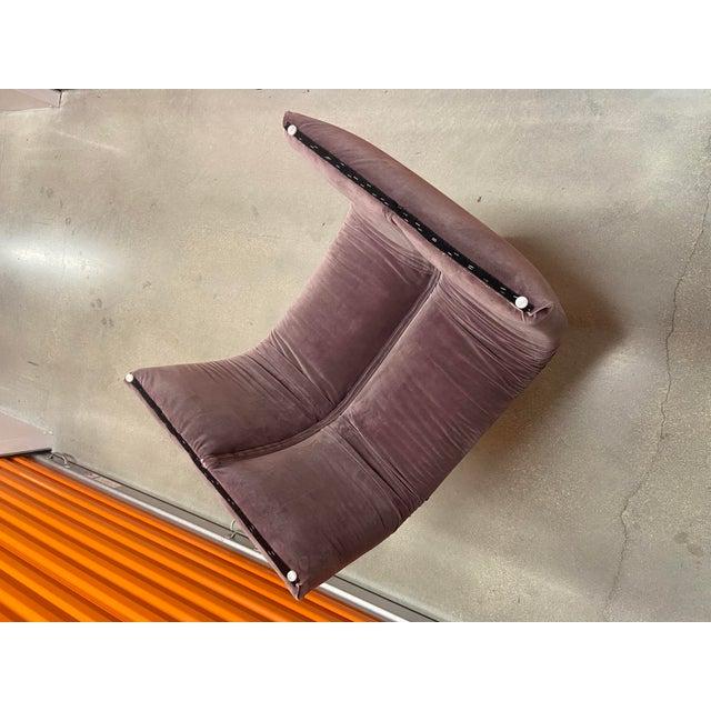 Waterfall Bench in the style of Karl Springer newly upholstered in Velvet Lavender.