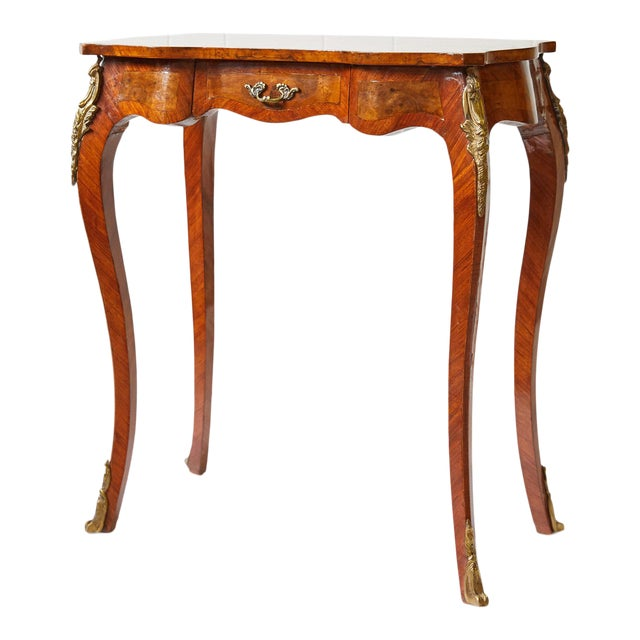 Italian Side Table With Star Marquetry Top For Sale