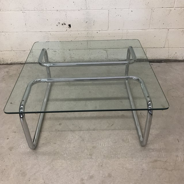 Mid Century Tubular Chrome Cocktail Table For Sale - Image 9 of 9
