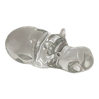 Vintage Murano Hippopotamus Figurine Clear Transparent Solid Glass For Sale