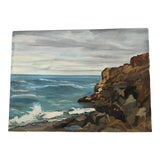 Image of Original Signed Mid Century 1960 New England Seascape Painting on Canvas For Sale