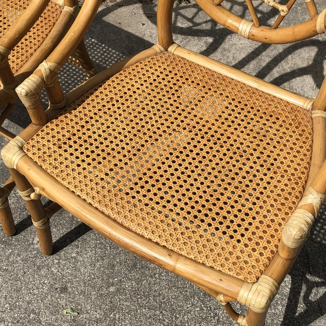"""Late 20th Century Hollywood Regency McGuire """"Cracked Ice"""" Rattan Chairs - a Pair For Sale - Image 5 of 10"""