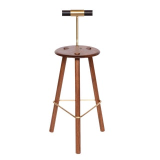 Customizable Erickson Aesthetics Walnut Stool For Sale