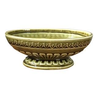 Vintage Olive Green Ceramic Planter For Sale