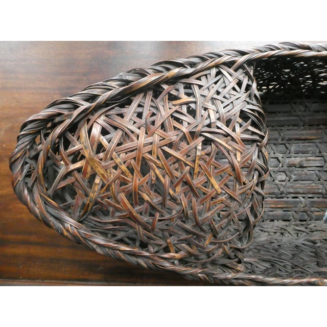Early 20th Century Early 20th Century Antique Japanese Ikebana Bamboo Basket For Sale - Image 5 of 8