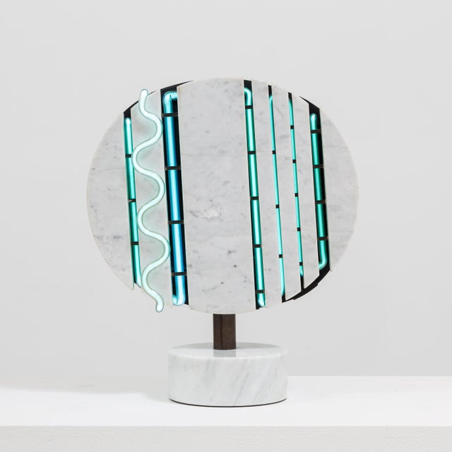 A Marble and Neon Light Sculpture by Sylvia Jaffe 1970s - Image 2 of 5