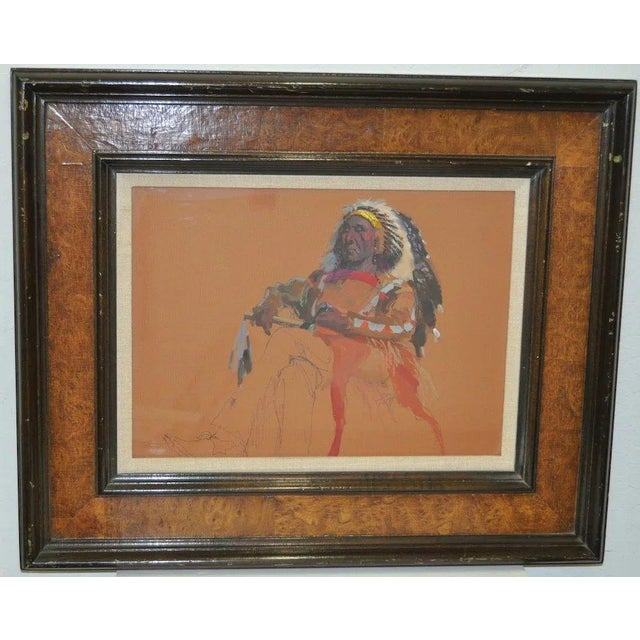 "Late 20th Century Donald ""Putt"" Putman Indian Chief Original Painting For Sale - Image 5 of 6"
