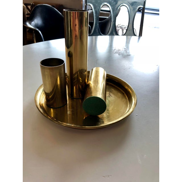 """3 brass pillar candle holders. Shallow for votives only. Measuring 6.5"""", 5"""", and 3.25"""". Tray measures 8"""" across. Green..."""