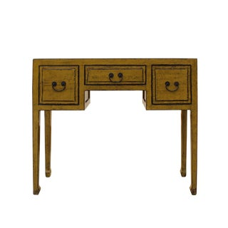 Chinese Distressed Yellow Lacquer 3 Drawers Table Desk For Sale