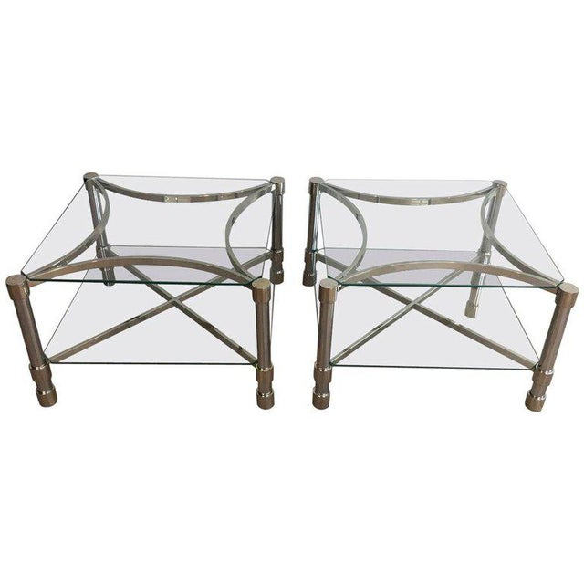 Pair of Double-tiered Chrome Side Tables For Sale - Image 11 of 11