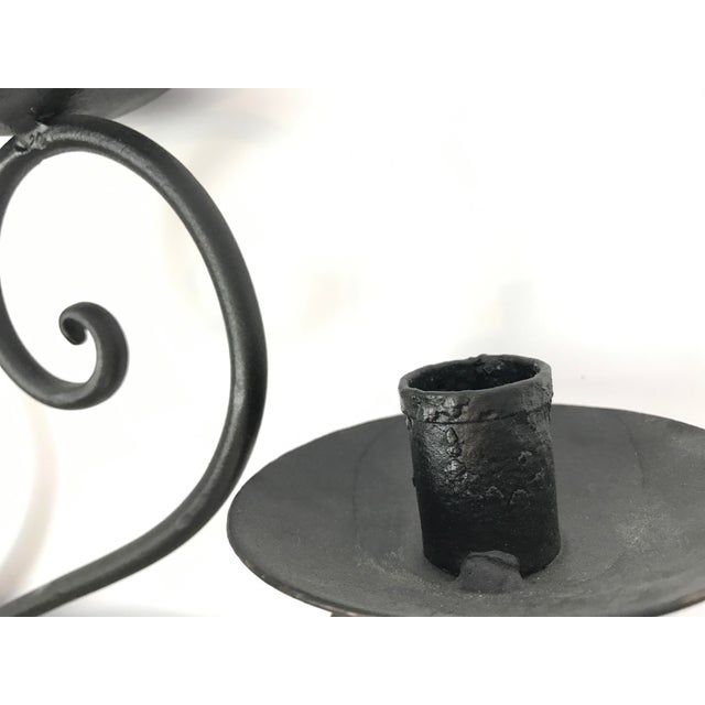Custom Made Wrought Iron Wall Candelabra - Image 5 of 7