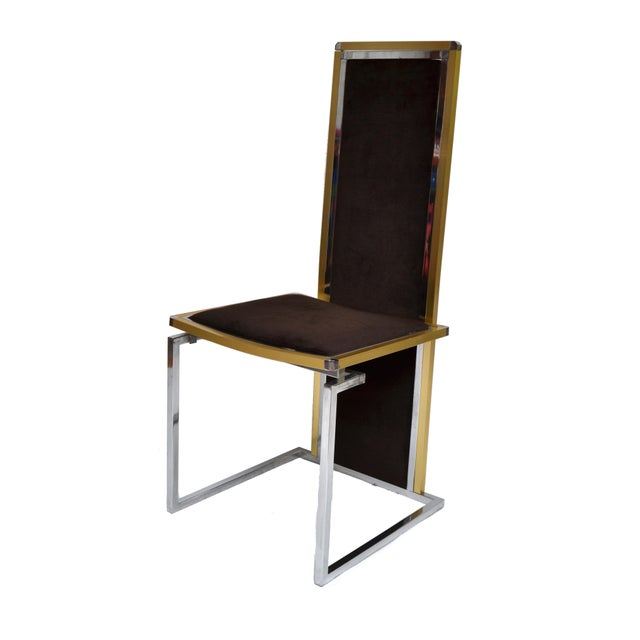 Set Of Six Brass Seven Chrome Dining Room Chairs With Original Velvet Upholstery Seat Depth