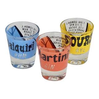 1950s Cocktail Shot Glasses - Set of 3 For Sale