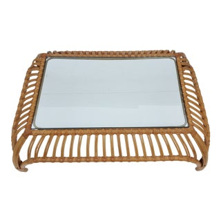 Franco Albini Inspired Rattan Coffee Table .