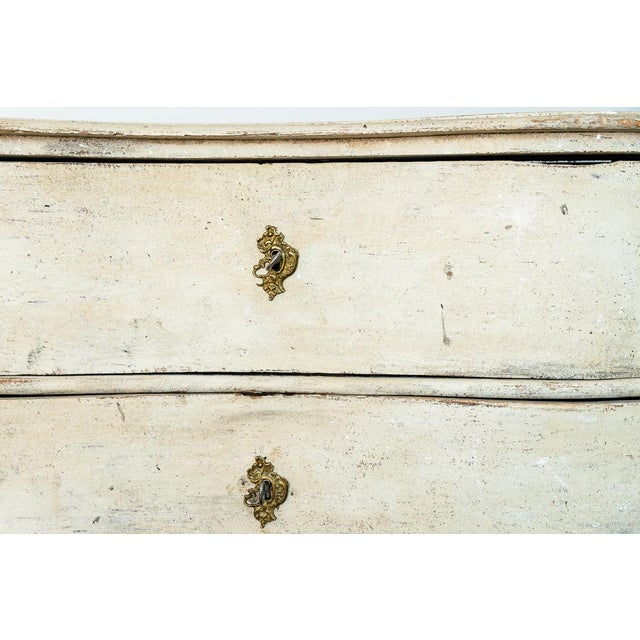 Late 18th Century Antique 18Th. C. Swedish Painted Wood Three Drawer Chest, Gustavian For Sale - Image 5 of 13